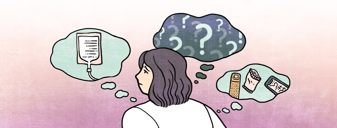 n anxious woman is surrounded by speech bubbles containing images of an infusion bag, water bottle, snack pack, phone, and a dark void full of question marks.