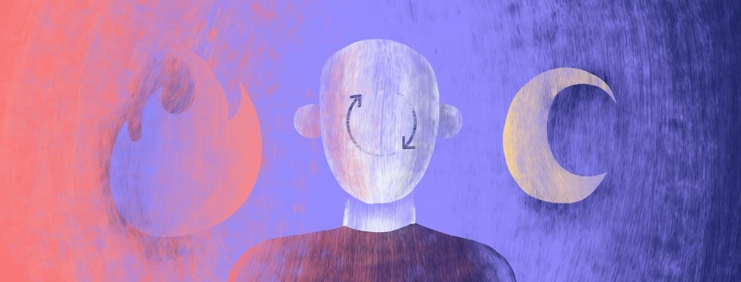 A faceless person facing the viewers with a cycle icon on their face. On the left of them is a flare fire and the right is a crescent moon.