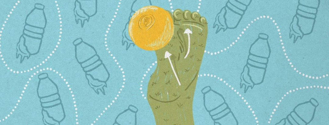 The sole of a foot made of grass. On the foot is a play-like schematic series of arrows. In the background is a pattern made of frozen water bottles. There is a lacrosse ball resting on the ball of the foot.