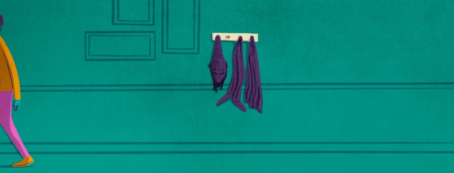 A person walking away leaving their rheumatoid arthritis hanging on a coat rack.