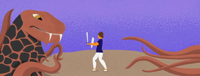 A woman fighting a tentacle monster while its tentacles creep up behind her.