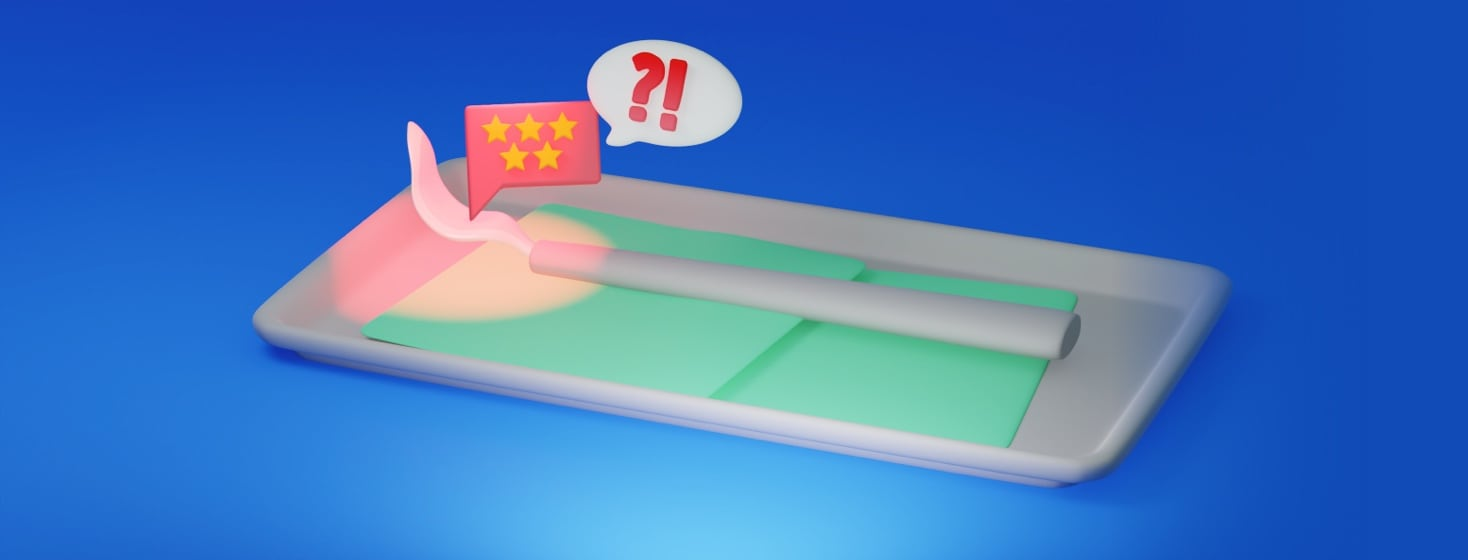 A bent and crooked scalpel is sitting on a tray. There is a five-star alert popping up. Next to the popup is a speech bubble with a question mark and exclamation mark.
