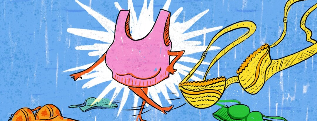 A bra character with arms and legs kicking a bra away with other bras on the ground around her