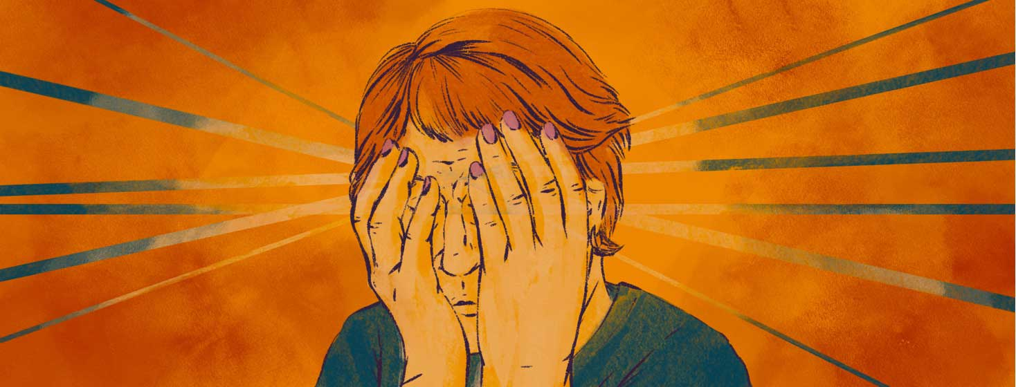 A stressed woman holds her face in her hands, covering her eyes.