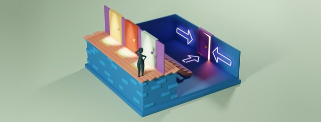 A figure looking perplexed in front of three closed doors. All three doors lead to a room with one single door. On the walls and floor are arrows pointing to the same location.