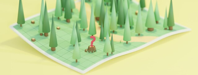 An unfolded map sitting on a surface. coming from the map are trees. In the closest corner is a tree stump with a bright red question mark floating above it.