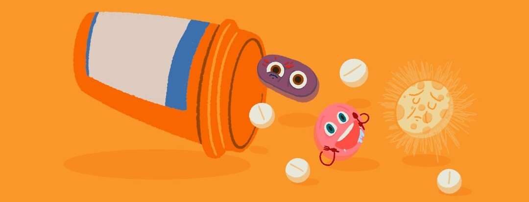 A medication bottle with pills tumbling out. Some of the pills represent side effects. moon face, hunger, and eye twitch.