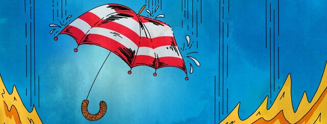 A red and white striped open umbrella, rain pouring down with flames in the bottom corners.