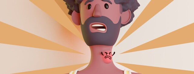 A picture of someones neck with an angry characterized glowing goiter.