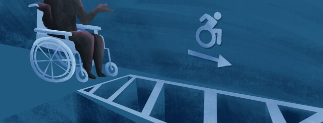 An NB person shrugging as they sit in a wheelchair. In front of them is an unpassable accessible space.