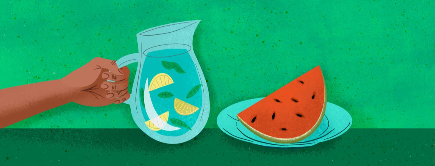 Person holds water pitcher with lemon and mint herbs. Slice of watermelon on plate. Hydration, hydrated, water-rich food.