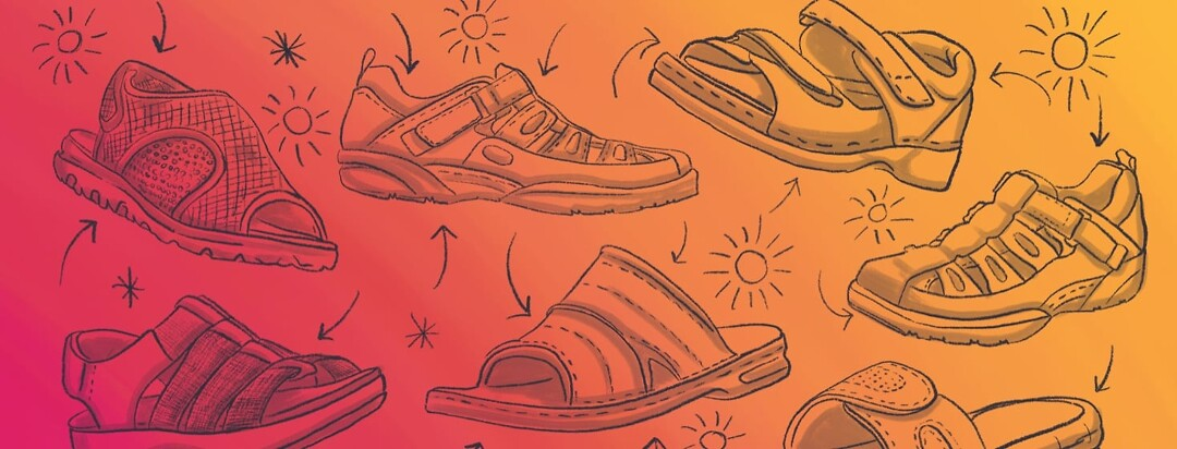 A collage of RA-approved sandal sketches