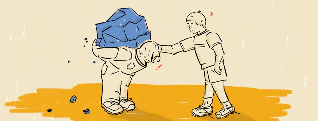Person carrying a boulder on their back with another person patting their shoulder