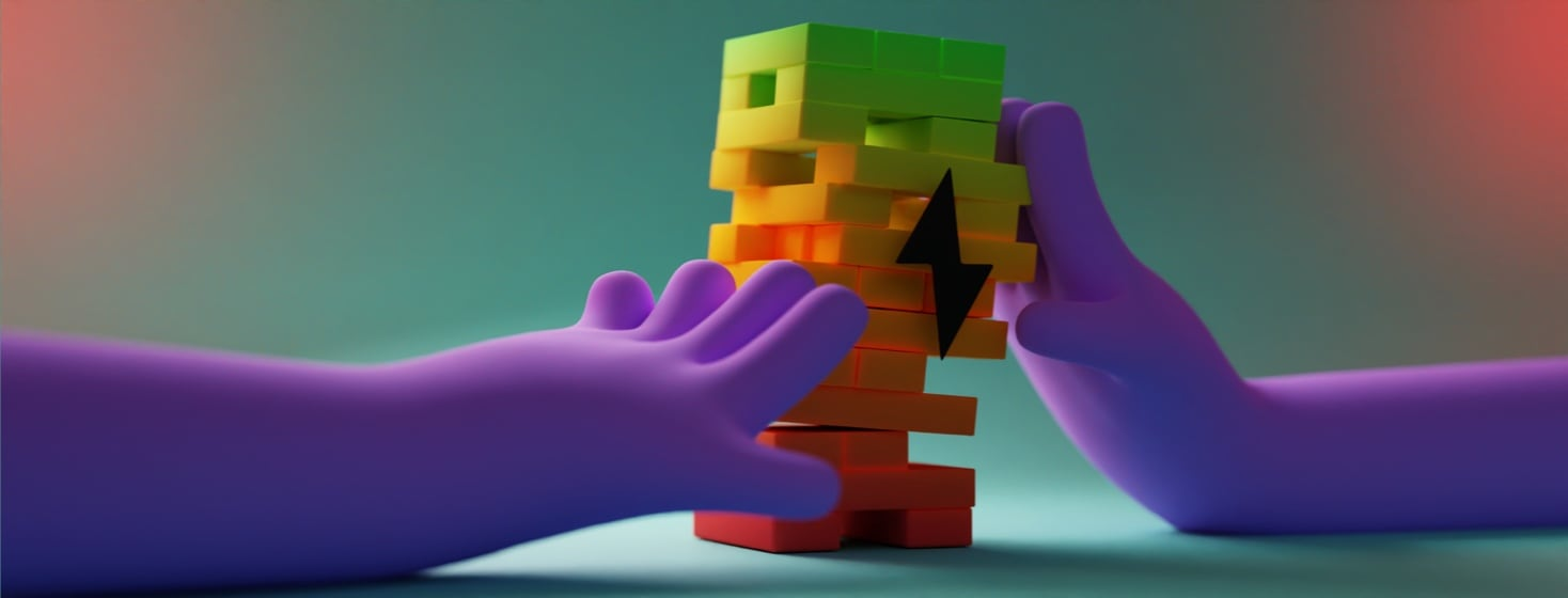 Two hands are holding a wobbly stack of Jenga-like blocks. The blocks are colored like a battery indicator going from green at the top of the stack to red at the bottom. Hovering in front of the stack is a lightning bolt symbol.