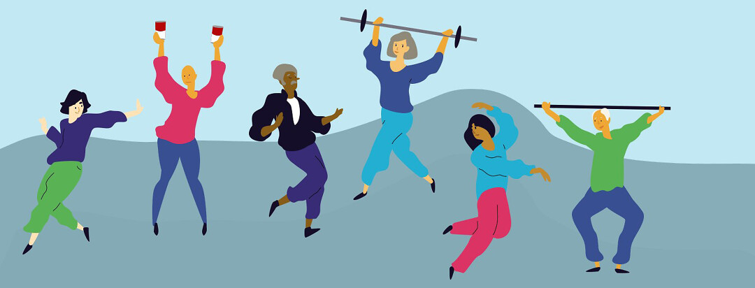 A diverse group of people dancing and lifting weights, ranging from soup cans to a barbell with heavy plates.