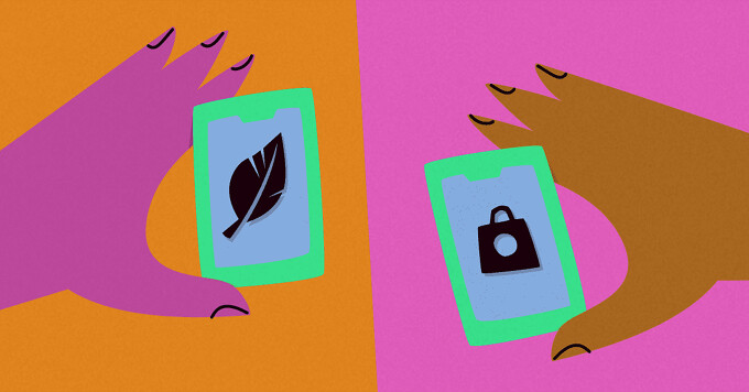 There are two hands, each holding a phone. The left phone shows a feather on the screen, while the right phone displays a weight.